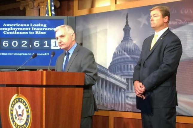 Senators Jack Reed, D-R.I., and Dean Heller, R-Nev., sponsors of an emergency unemployment extension, urged the House to pass their bill. UPI/Gabrielle Levy