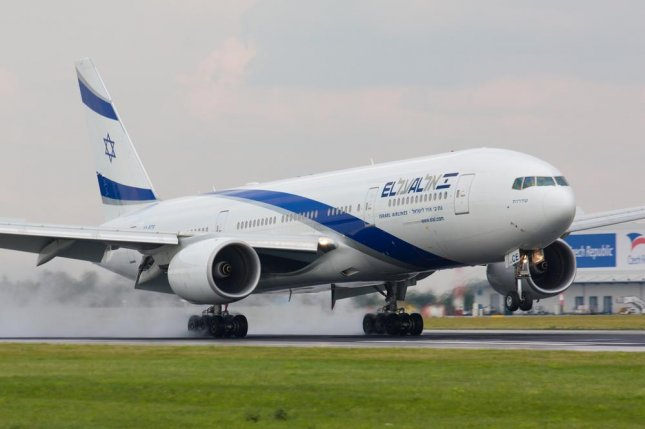 El Al Israel Airlines flight LY002 was briefly escorted on Tuesday by two Swiss Air Force fighter jets due to a bomb threat. The flight landed safely in Tel Aviv. File Photo by Rebius/Shutterstock