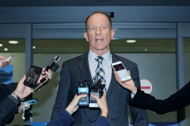 Assistant Secretary of State David Stilwell talks to reporters at Incheon International Airport in Incheon, South Korea on Tuesday. Photo by Yonhap/EPA-EFE
