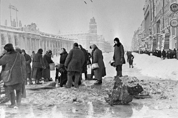 Residents of Leningrad, Russia, queue up for water from shell holes December 1, 1941. On September 8, 1941, the Siege of Leningrad -- the Russian city now known as St. Petersburg -- began. File Photo by Boris Kudoyarov/RIA Novosti/Wikipedia