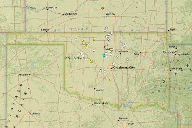 A map showing a cluster of seismic activity in Oklahoma over the last 30 days. The state is trying to address the issue by limiting some types of oil and gas work. Map courtesy of the U.S. Geological Survey