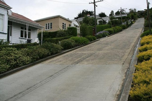 Baldwin Street in Dunedin, New Zealand, recaptured the Guinness World Record for the world's steepest street after the decision to give the record to a street in Wales was appealed. Photo courtesy of Guinness World Records