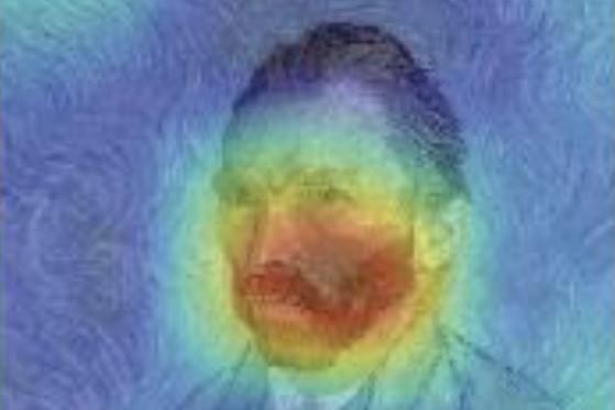 Researchers used algorithms to analyze 800,000 visual arts images covering the careers of 2,128 artists to determine how they hit their defining hot streaks, including Van Gogh, as illustrated by a saliency map visualizing pixels the systems used to predict his career trajectory. Photo courtesy of Northwestern University