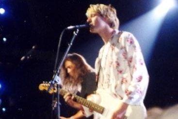 Kurt Cobain and Nirvana around 1992 by P.B. Rage from USA. Wikimedia Commons