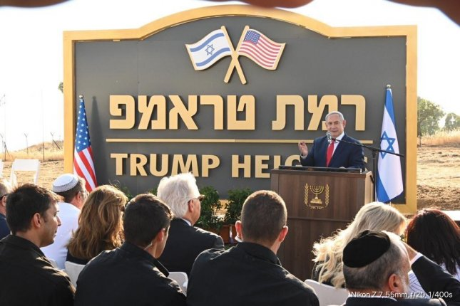 Israeli PrimeMinister Benjamin Netanyahu said it was a historic day during the unveiling Sunday of Trump Heights, a new, yet-to-be-built community in the disputed Golan Heights.Photo courtesy of U.S. Ambassador to Israel David Friedman/Twitter