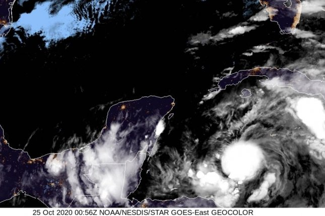 Tropical depression No. 28 will drench southern Florida with up to 12 inches of rainfall and may strengthen into a hurricane in the Gulf of Mexico by Tuesday, the National Hurricane Center said. Photo courtesy of the National Hurricane Center
