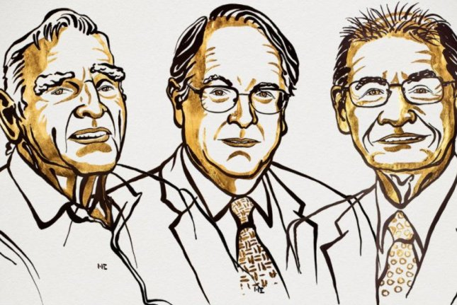 The 2019 Nobel Prize in Chemistry were awarded to John Goodenough, Stanley Whittingham and Akira Yoshino Wednesday for their work developing the lithium ion battery, which has revolutionized modern life and increased environmental sustainability. Illustration by Niklas Elmehed/Nobel Media