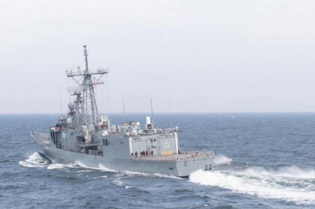 The Polish Navy frigate ORP Gen. Kazmerirz Pulaski, pictured, joined the destroyer USS Ross for exercises on the Baltic Sea on Saturday. Photo by MCS Seaman Christine Montgomery/U.S. Navy