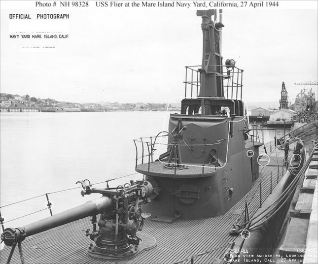 World War II submarine USS Flier (SS 25) in port in California in 1944. It was later sunk by a mine in the South China Sea and remained missing until a Toronto film crew located it in the spring of 2009. U.S. Navy photo handout by yap films.