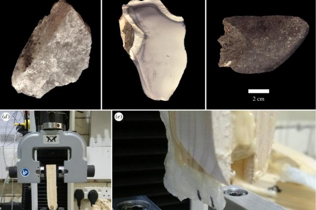 Scientists used mechanical tests to identify the advantages of different materials -- including quartzite, chert and basalt -- for Early Stone tools. Photo by Alaistar Key, et al./Journal of the Royal Society Interface