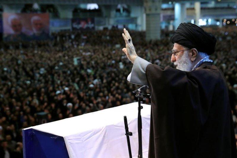 Iranian religious leader Ayatollah Ali Khamenei leads prayers Friday in Tehran, Iran. Photo by Office of Iran's Supreme Leader Office/EPA-EFE