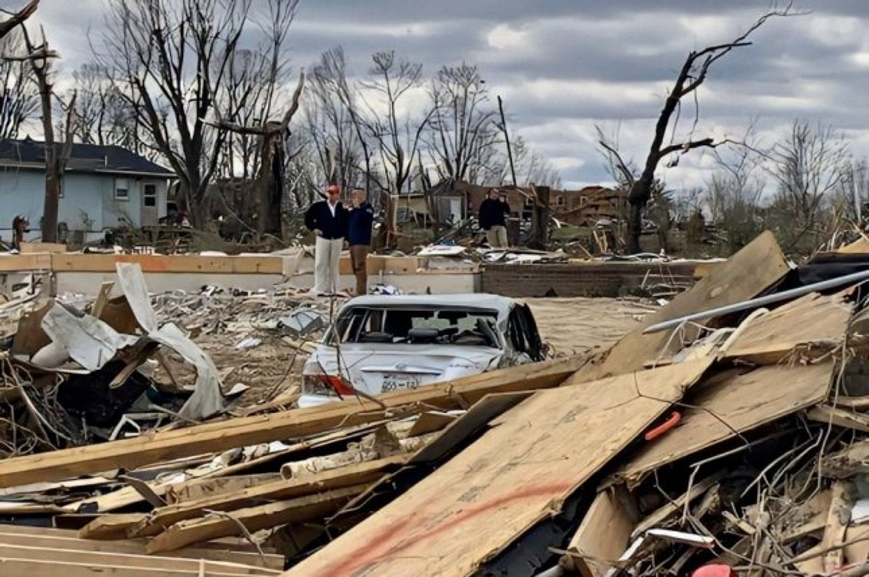 President Donald Trump surveys tornado damage during a visit Friday to Putnam County, Tenn. Photo courtesy of Stephanie Grisham/White House