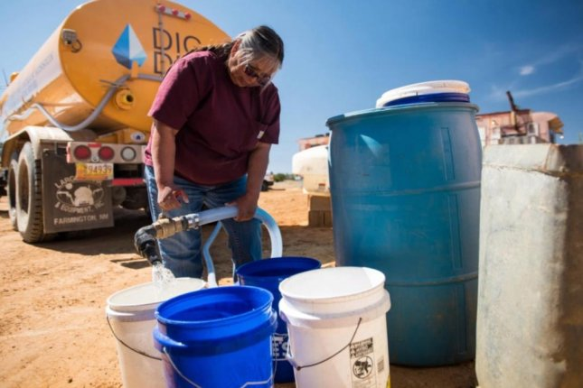 Freshwater solar-powered cisterns are being installed in homes with no indoor plumbing on the Navajo Nation. Photo courtesy of DigDeep