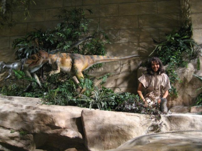 This display in the Creation Museum in Petersburg, Kentucky appears to depict a young prehistoric man coexisting with a velociraptor, an carnivorous dinosaur and an especially lethal predator. The United Kingdom just banned the teaching of creationism as scientifically valid in all public schools. Wiki CC/Anthony5429