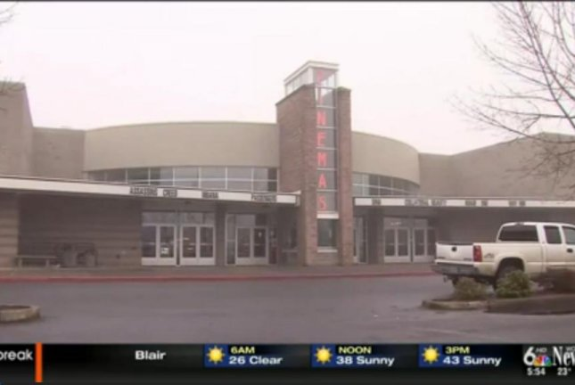An Oregon man who fell asleep during a movie awoke to find the theater was closed and he was locked inside. Screenshot: WOWT-TV