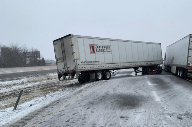 Although the northern Midwest cities were getting the brunt of a snowstorm, Missouri also had light snow, resulting in a tractor-trailer crash on Interstate 44 on Saturday. One lane was open and traffic was moving slowly. Photo courtesy Missouri State Highway Patrol/Twitter