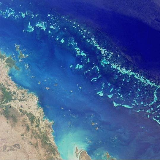 Satellite image of part of the Great Barrier Reef adjacent to Queensland coastal areas. Credit: NASA