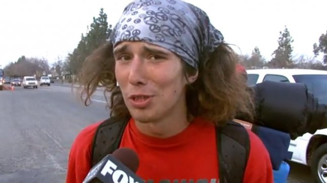 Caleb Lawrence McGillvary, known as the viral Internet hero Kai the Hatchet Wielding Hitchhiker, is now being sought for murder in New Jersey. (YouTube screenshot via KMPH-FOX)