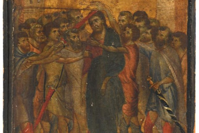 A painting found hanging in an elderly French woman's kitchen was found to be a long-lost panel from a polyptych by 13th-century Italian artist Cimabue. The painting, titled Mocking of Christ, is scheduled to be auctioned Oct. 27. Photo courtesy of Acteon