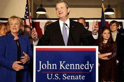 John Neely Kennedy speaks to supporters Saturday night in Baton Rouge, La., after defeating his challenger, Foster Campbell. Photo by John Neely Kennedy campaign/Facebook