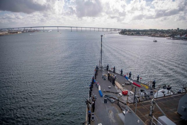 In this November photo, sailors man the rails of the amphibious dock landing ship USS Harpers Ferry as the vessel returns to its home port in San Diego following a deployment. Photo by Danielle A. Baker/U.S. Navy