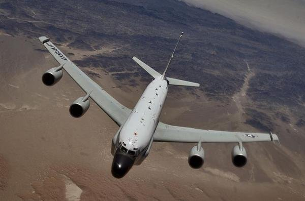 A Russian SU-27 fighter jet performed a barrel roll, which the United States considers an unsafe arial maneuver, over a U.S. Air Force RC-135 (pictured) near the Baltic Sea. A nearly identical incident also occurred on April 14. Russia defended the maneuver, saying that the U.S. should either not to fly near the Russian borders or to turn the transponder on for identification. Pentagon spokesman Daniel Hernandez argued that the U.S. plane did not enter Russian territory and warned that these repeated incidents could unnecessarily escalate tensions between countries. Photo from U.S. Air Force