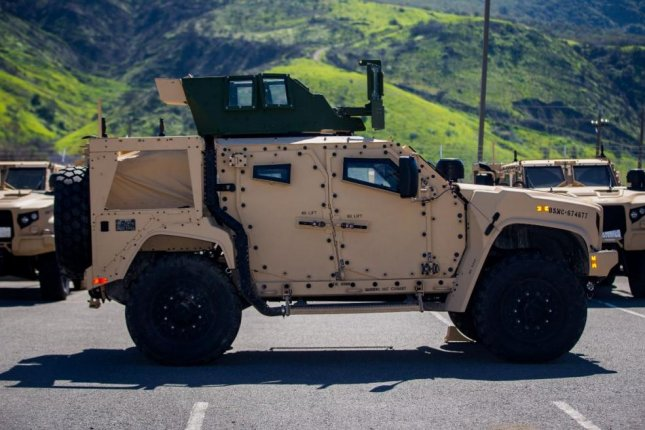 The U.S. Marine Corps announced on Monday that its new Joint Light Tactical Vehicle achieved initial operational capability. Photo by Cpl. Juan Bustos/U.S. Marine Corps/UPI