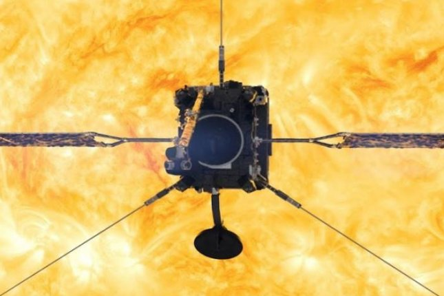 The European Space Agency's Solar Orbiter science satellite is shown in an artist's concept as its instruments face the sun. Image courtesy of NASA