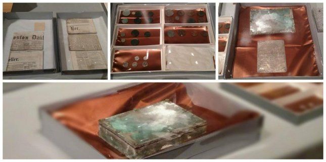 A time capsule buried under the cornerstone of the Massachusetts State House in 1795 was opened Tuesday. Photo courtesy the Boston Museum of Fine Arts/Facebook.