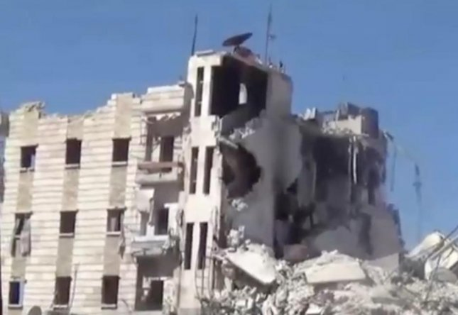 The largest remaining hospital in the rebel-held Syrian city of Aleppo was struck by a pair of barrel bombs during an ongoing series of airstrikes. No casualties were reported in the attack but patients were forced to be evacuated from the facility, which had already been put out of service after sustained an attack from Russian-made cluster bombs earlier in the week. Screen capture/NBC News/Inform Inc.