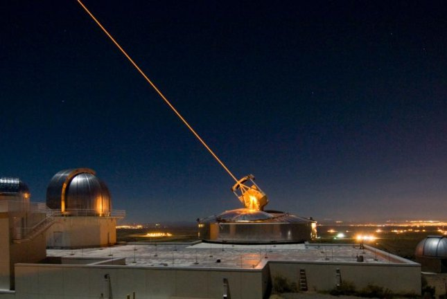 A test of a Sodium Guidestar laser is pictured at Starfire Optical Range at Kirtland Air Force Base in N.M. Photo courtesy of the U.S. Air Force