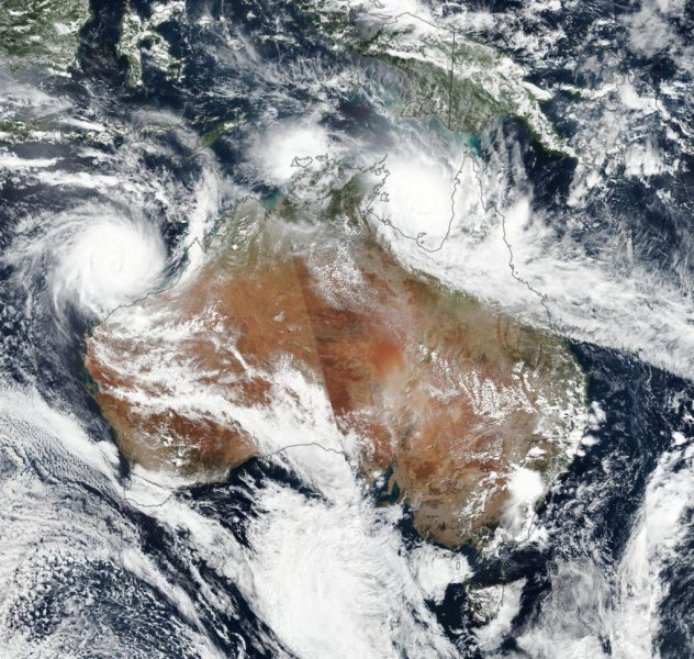 A NASA photo Friday showing a satellite image of Cyclone Veronica (L) over Western Australia and Cyclone Trevor over Northern Territory (top-R). Photo by NASA Earth Observatory/EPA-EFE