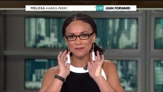 MSNBC host Melissa Harris-Perry dons homemade tampon earrings in response to controversial abortion legislation in Texas. (Screenshot MSNBC)