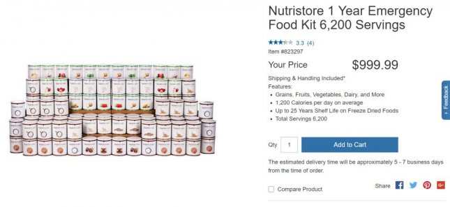 Costco is selling emergency kits containing a year's supply of food for $999.99. Screenshot: Costco.com