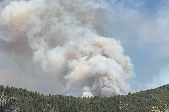 Residents in parts of Colorado were forced to evacuate Tuesday as the Grizzly Creek Fire, which sparked on Monday, grew to 3,200 acres. Photo byGarfield County Sheriff's Office