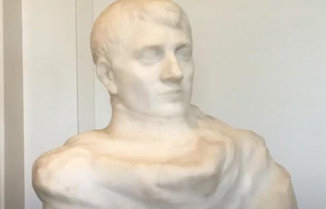 A bust of Napoleon Bonaparte by French sculptor Auguste Rodin was discovered at a town hall in New Jersey.  Screen capture/Daily Record