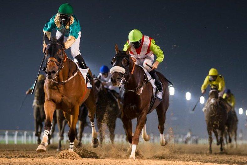 Firnas wins Thursday's feature at Meydan Racecourse in Dubai, The Entisar. Photo by Erika Rasmussen, courtesy for Dubai Racing Club