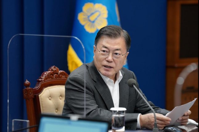 South Korean President Moon Jae-in said Monday that he would discuss cooperation on COVID-19 vaccines with U.S. President Joe Biden at their upcoming summit this week. Photo by Yonhap