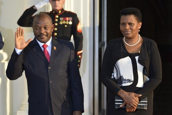 Burundi's President Pierre Nkurunziza and first lady Denise Bucumi attended a state dinner at the White House in 2014. His re-election has prompted rebellion, and it is feared a new civil war in Burundi may be starting. File Photo by Mike Theiler/UPI