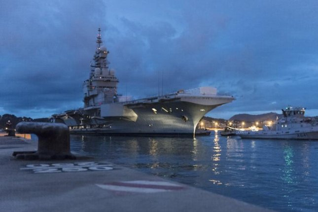 The French Navy's Charles de Gaulle aircraft carrier at a shipyard in Toulon for refit and modernization. French Navy photo