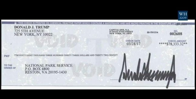 The actual check from President Donald Trump to the National Park Service was shown at Monday's news briefing. It is the first of many donations the president plans to make in deferring his salary to several recipients and charities. Image courtesy of the White House