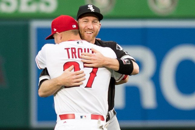 Mike Trout and Todd Frazier share a moment before Monday night's game. Photo courtesy Los Angeles Angels/Twitter