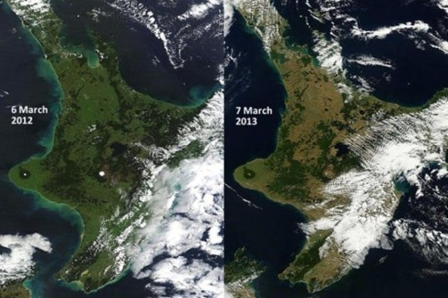 New Zealand's North Island in March 2012 (left) and March 2013 (right.) Credit: NASA