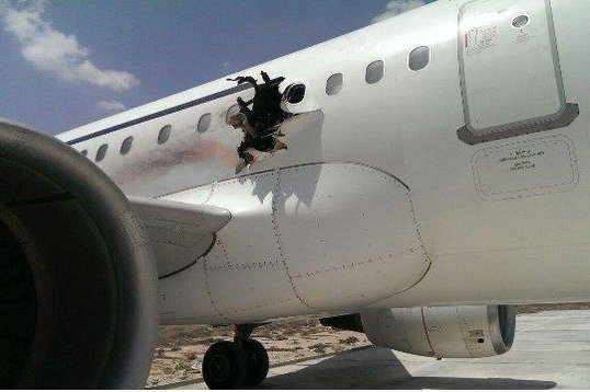 Al-Qaida-linked terrorist group al-Shabab claimed responsibility Sunday for a failed suicide bombing on board a Somali passenger plane on Feb. 2. Photo by @harunmaruf