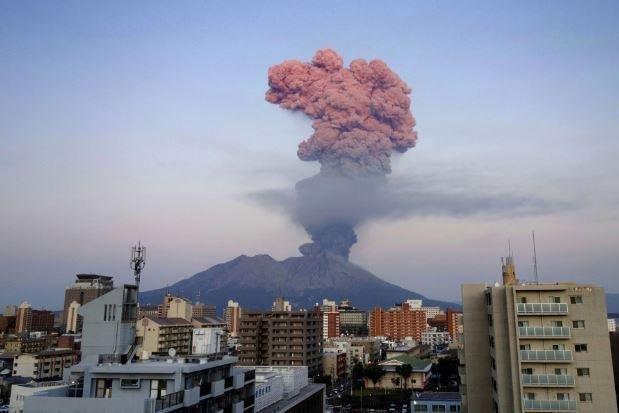 Friday's eruption of Japan's Mount Sakurajima volcano sent a plume of ash 3.4 miles into the air. Photo courtesy Japan Meteorological Agency/Kagoshima