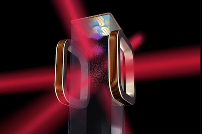Artist's concept of an atom chip for use by NASA's Cold Atom Laboratory aboard the International Space Station. The labratory will use lasers to cool atoms to ultracold temperatures, allowing physicists on the ground to study them in a different state of matter. Image courtesy NASA