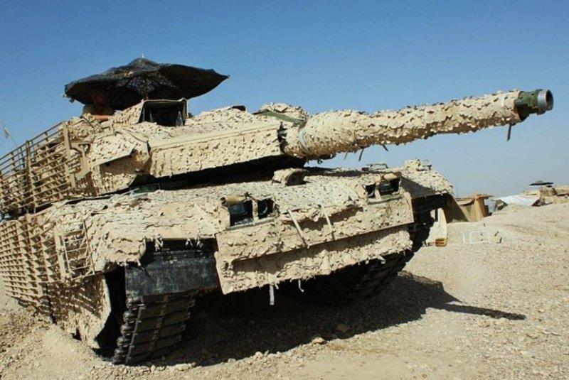 A Leopard 2 tank in Saab camoflage. Photo courtesy Saab