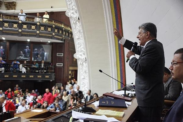 Henry Ramos Allup, leader of Venezuela's National Assembly legislature seen here during a session, on Wednesday said he would not attend an emergency government meeting he said was a farce called by President Nicolas Maduro because he would not be made a fool. Photo courtesy of National Assembly