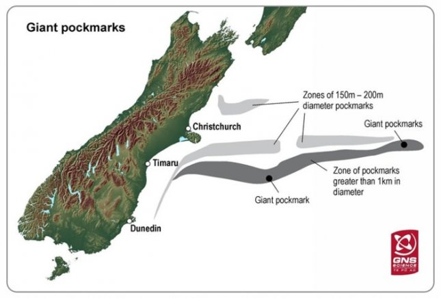 Map of extent of undersea pockmarks off New Zealand. Credit: GNS Science
