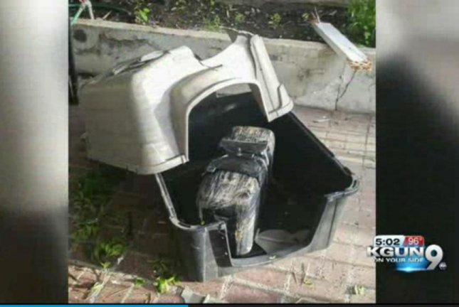 A Nogales, Ariz., family discovered this 23.8-pound package of marijuana had crashed through the roof of their carport and crushed their dog's unoccupied kennel. KGUN-TV video screenshot